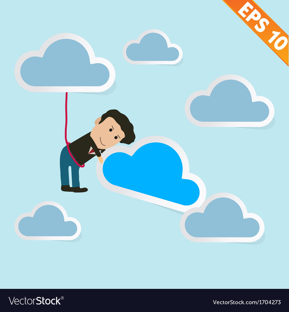 Cartoon business man with cloud computing - vector | Price: 1 Credit (USD $1)