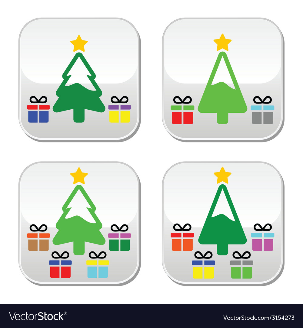 Christmas tree with present buttons set vector | Price: 1 Credit (USD $1)