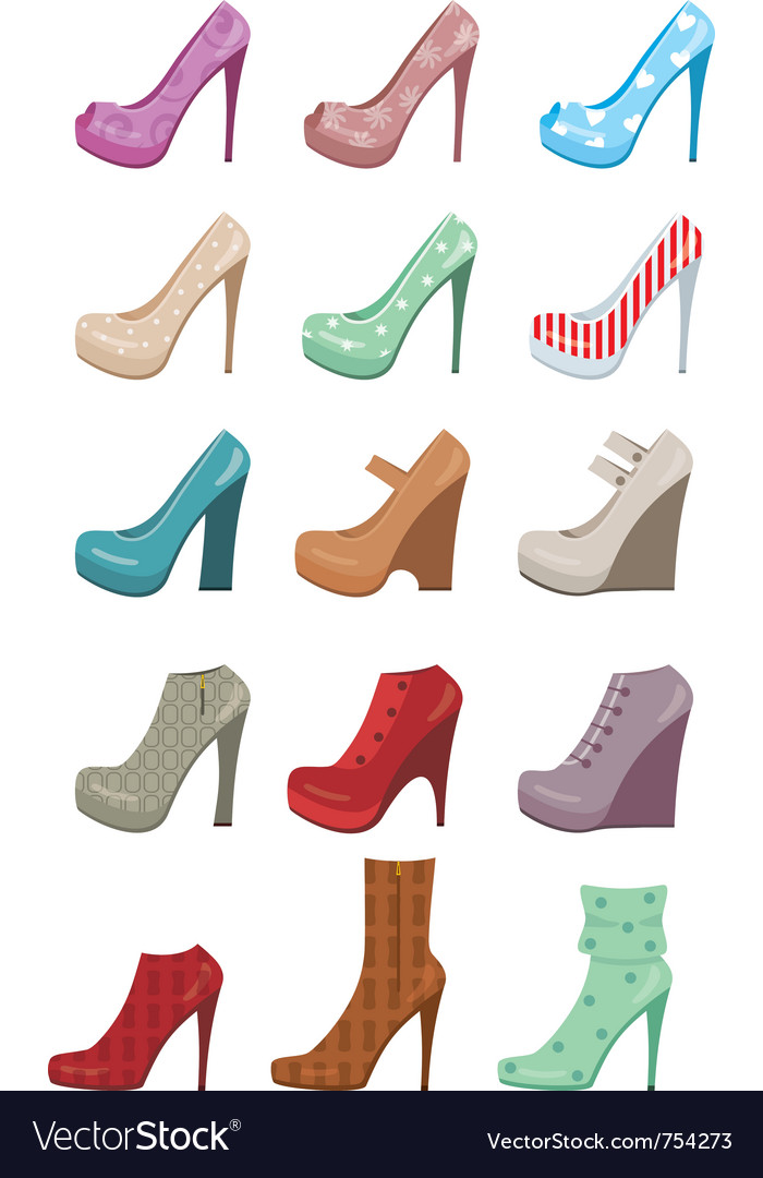 Female shoes set vector | Price: 1 Credit (USD $1)