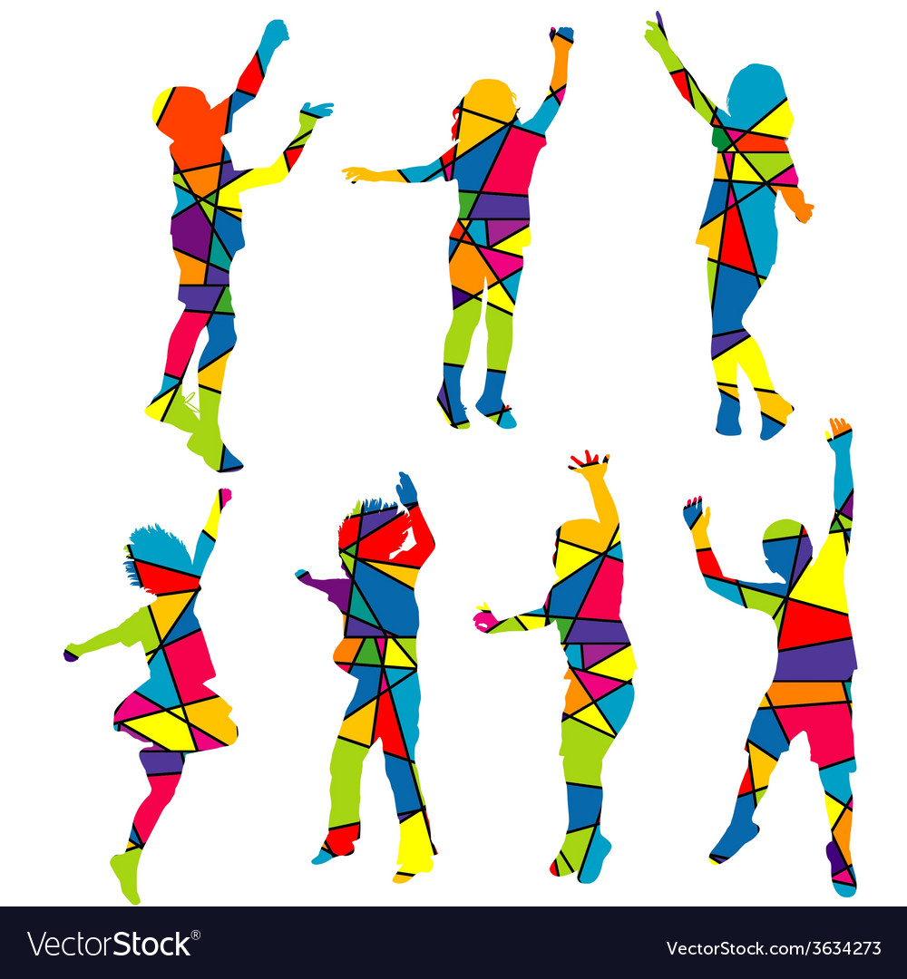 Happy children silhouettes patterned colorful vector | Price: 1 Credit (USD $1)