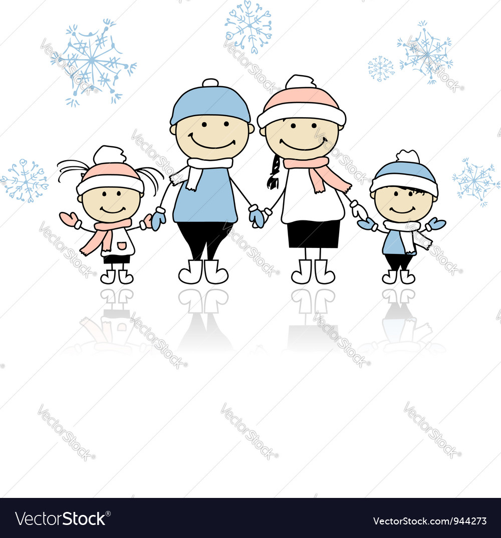 Happy family smiling together christmas holiday vector | Price: 1 Credit (USD $1)