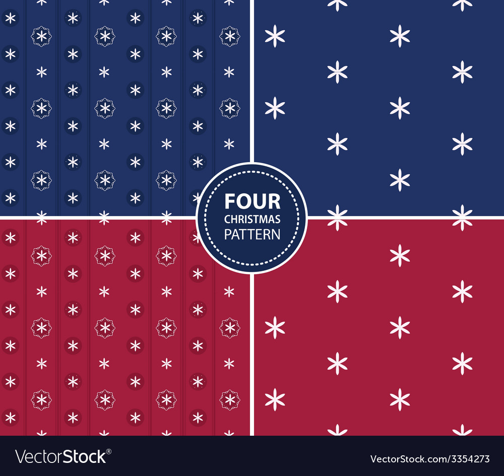 Set of four christmas seamless patterns vector | Price: 1 Credit (USD $1)