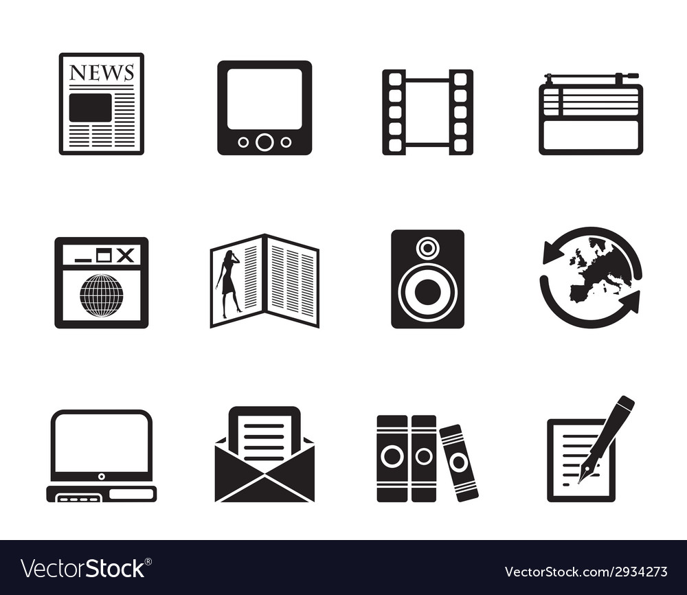 Silhouette media and information icons vector | Price: 1 Credit (USD $1)