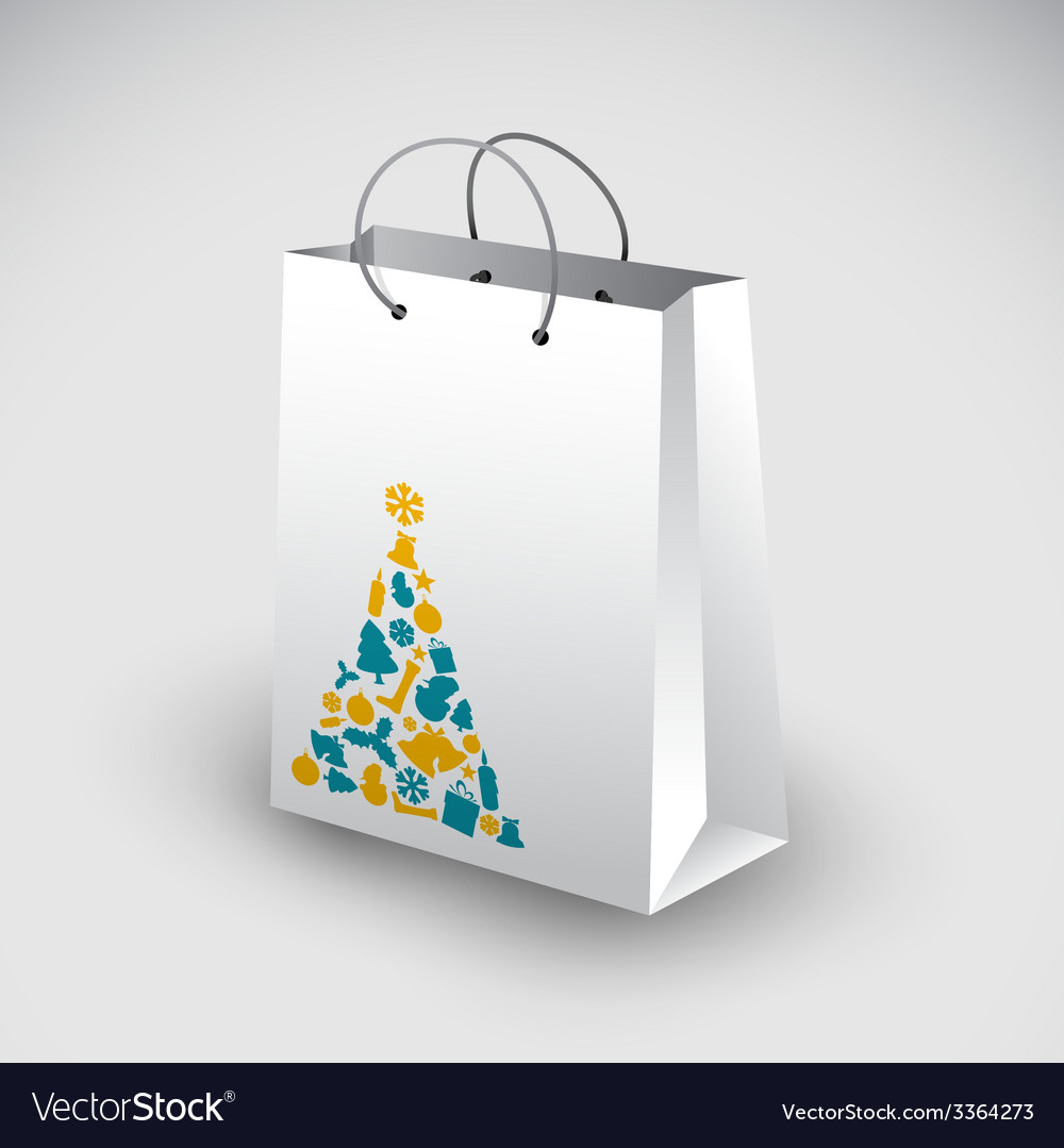 White shopping bag with christmas motive vector | Price: 1 Credit (USD $1)