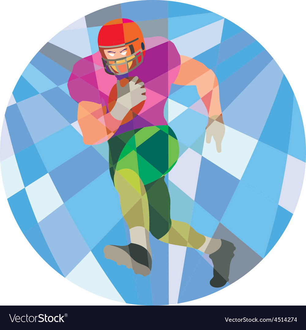American football player running low polygon vector | Price: 1 Credit (USD $1)