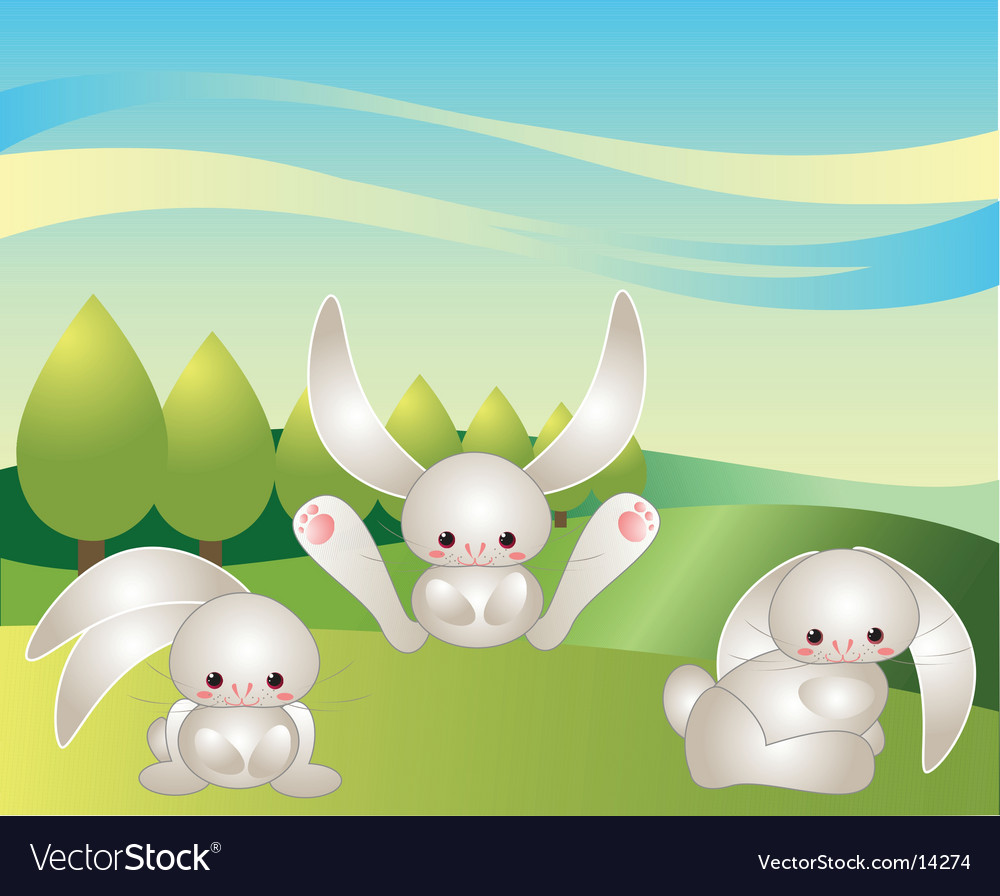 Bunnies at play vector | Price: 3 Credit (USD $3)