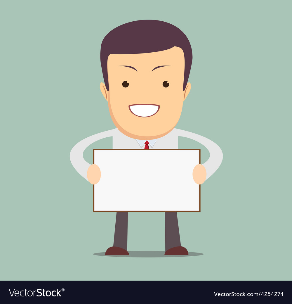 Businessman holding a blank message board vector | Price: 1 Credit (USD $1)