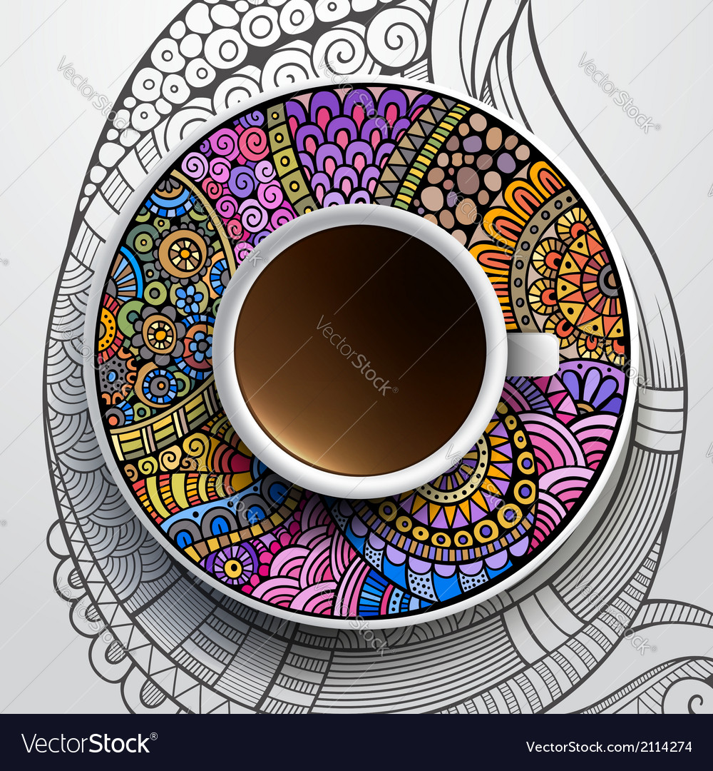 Cup of coffee and hand drawn floral ornament vector | Price: 1 Credit (USD $1)