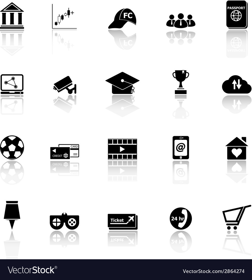 General online icons with reflect on white vector | Price: 1 Credit (USD $1)