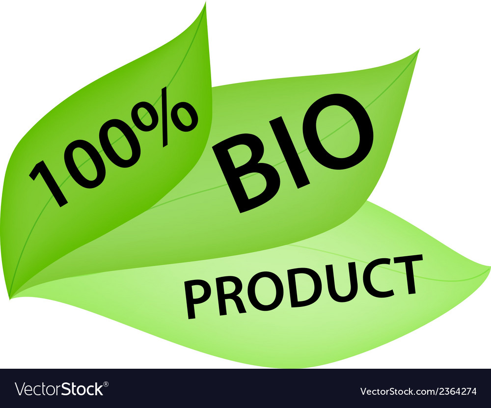 Green label with tag 100 bio product vector | Price: 1 Credit (USD $1)