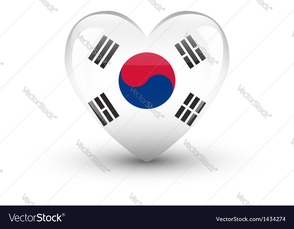 Heart-shaped icon with flag of south korea vector | Price: 1 Credit (USD $1)