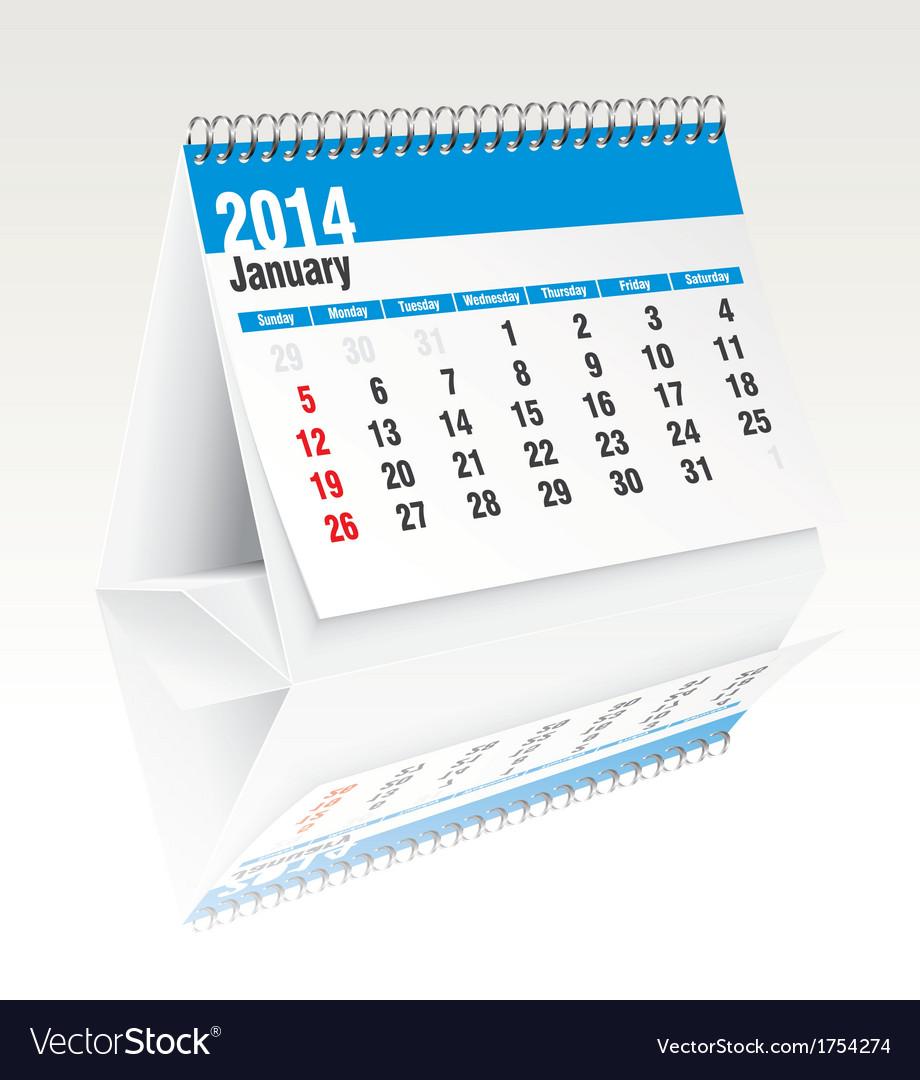 January 2014 desk calendar vector | Price: 1 Credit (USD $1)