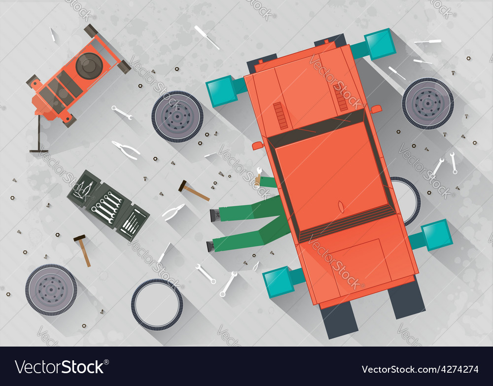 Mechanic repairing the car vector | Price: 1 Credit (USD $1)