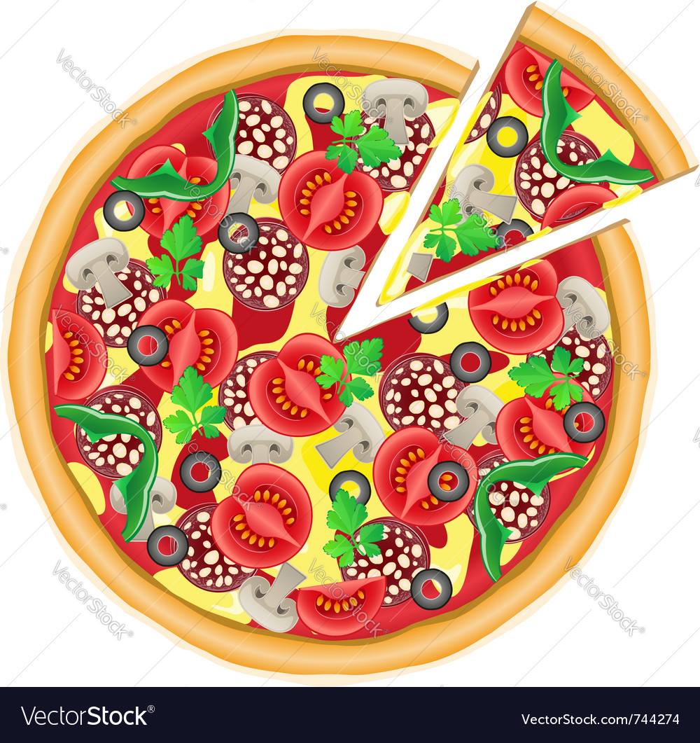 Pizza and cut piece isolated on white background vector | Price: 1 Credit (USD $1)