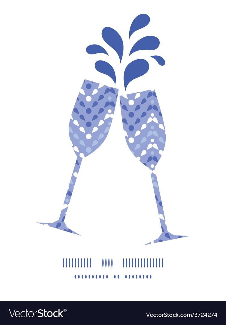 Purple drops chevron toasting wine glasses vector | Price: 1 Credit (USD $1)
