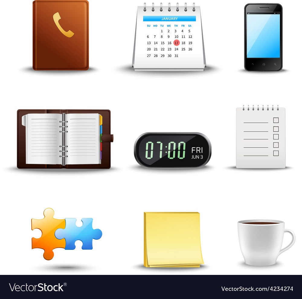 Realistic time management icons vector | Price: 3 Credit (USD $3)