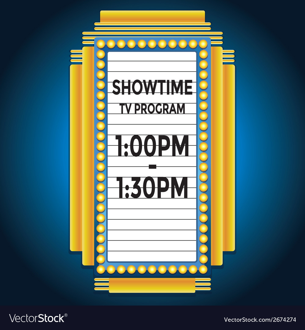 Showtime retro cinema neon sign vector | Price: 1 Credit (USD $1)