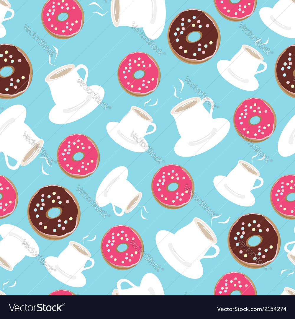 Tea and donuts seamless background pattern vector | Price: 1 Credit (USD $1)