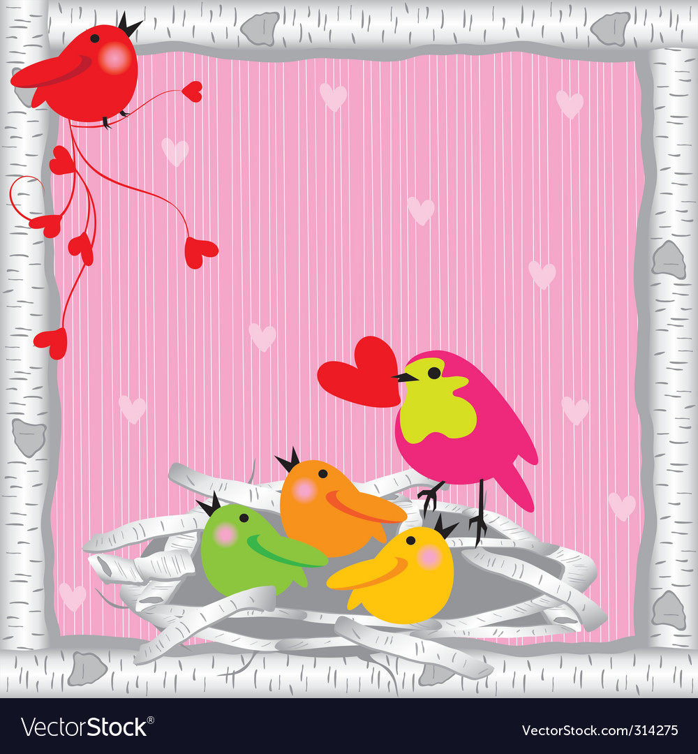 Baby birds and mommy valentine vector | Price: 1 Credit (USD $1)