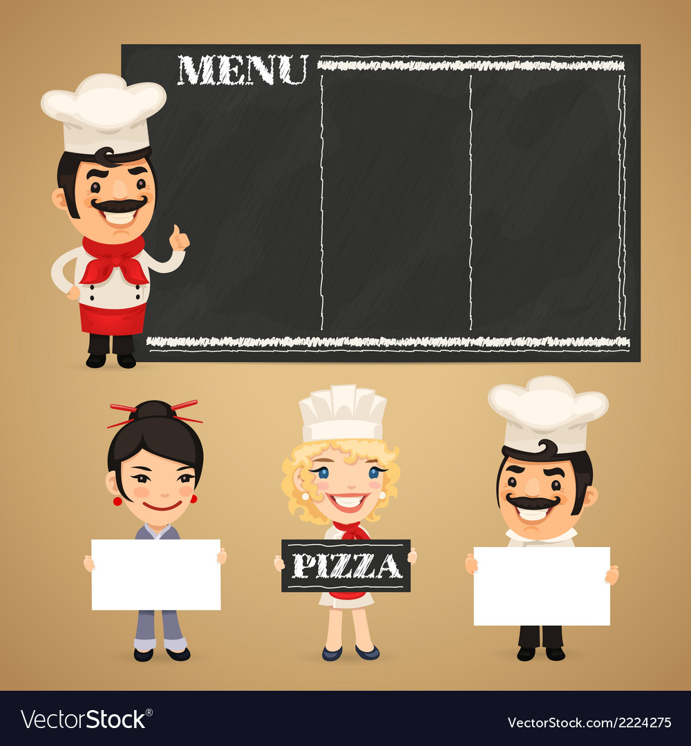 Chefs presenting empty banners vector | Price: 1 Credit (USD $1)