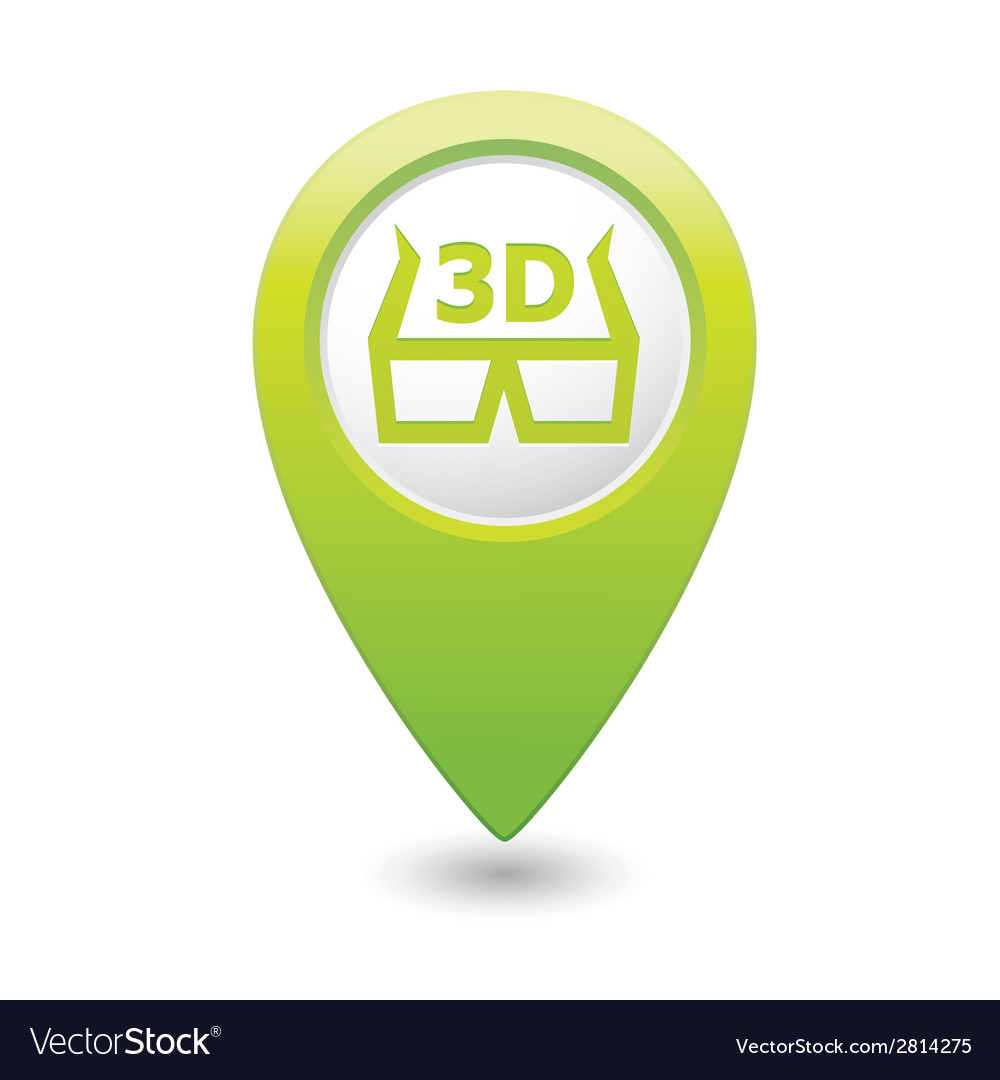 Cinema glasses 3d icon green map pointer vector | Price: 1 Credit (USD $1)