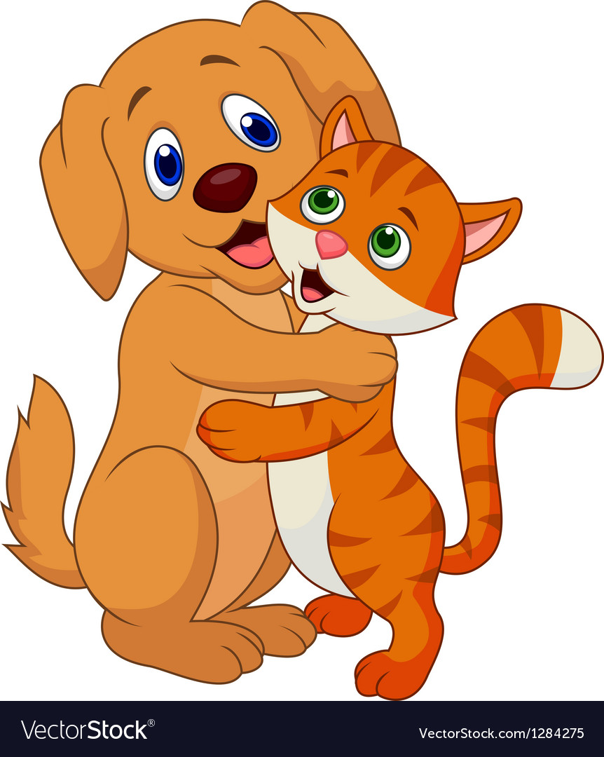 Cute dog and cat cartoon embracing each other vector | Price: 3 Credit (USD $3)