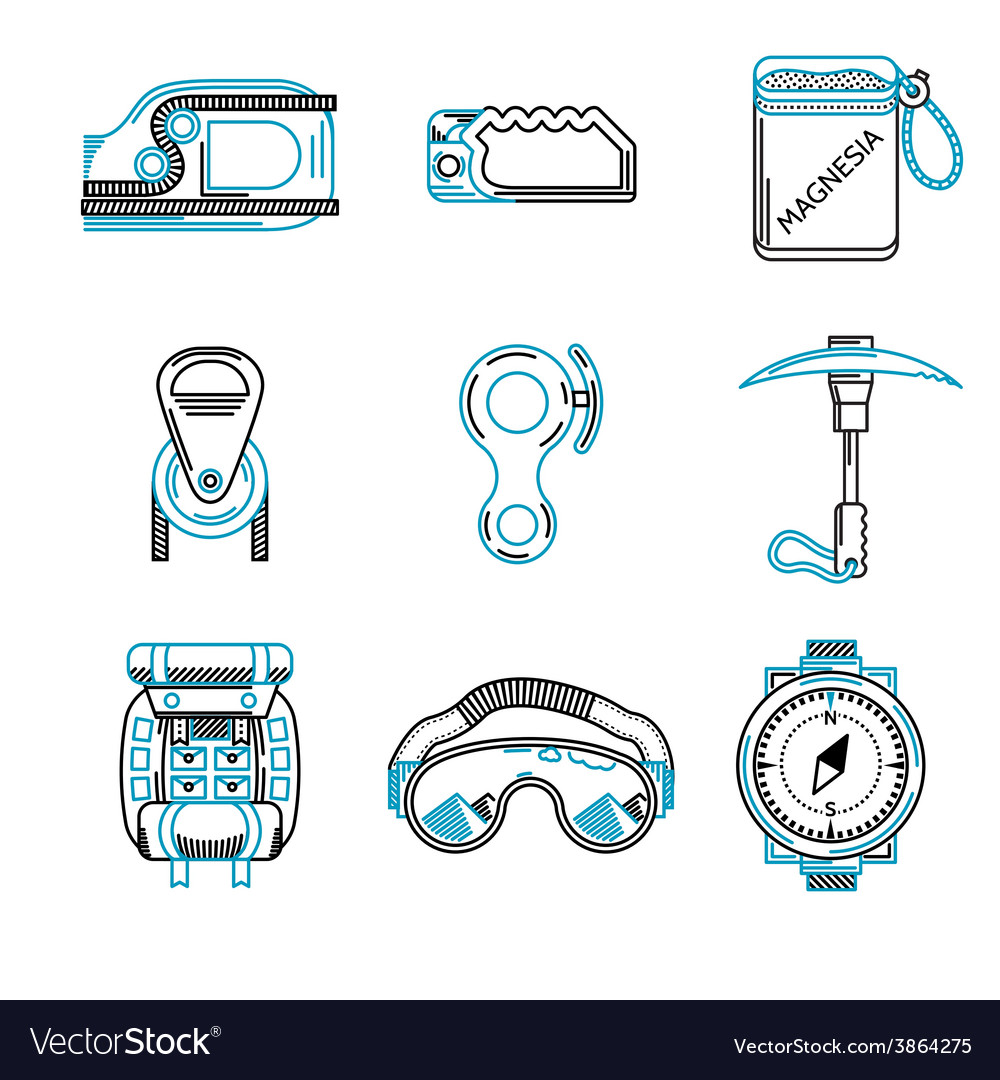Flat line icons for mountaineering vector | Price: 1 Credit (USD $1)