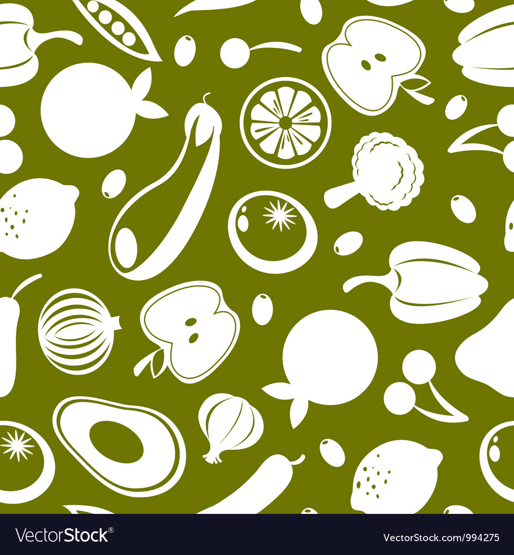 Fruit and vegetables seamless background vector | Price: 1 Credit (USD $1)