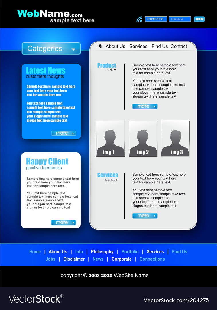 Futuristic style website template vector | Price: 3 Credit (USD $3)