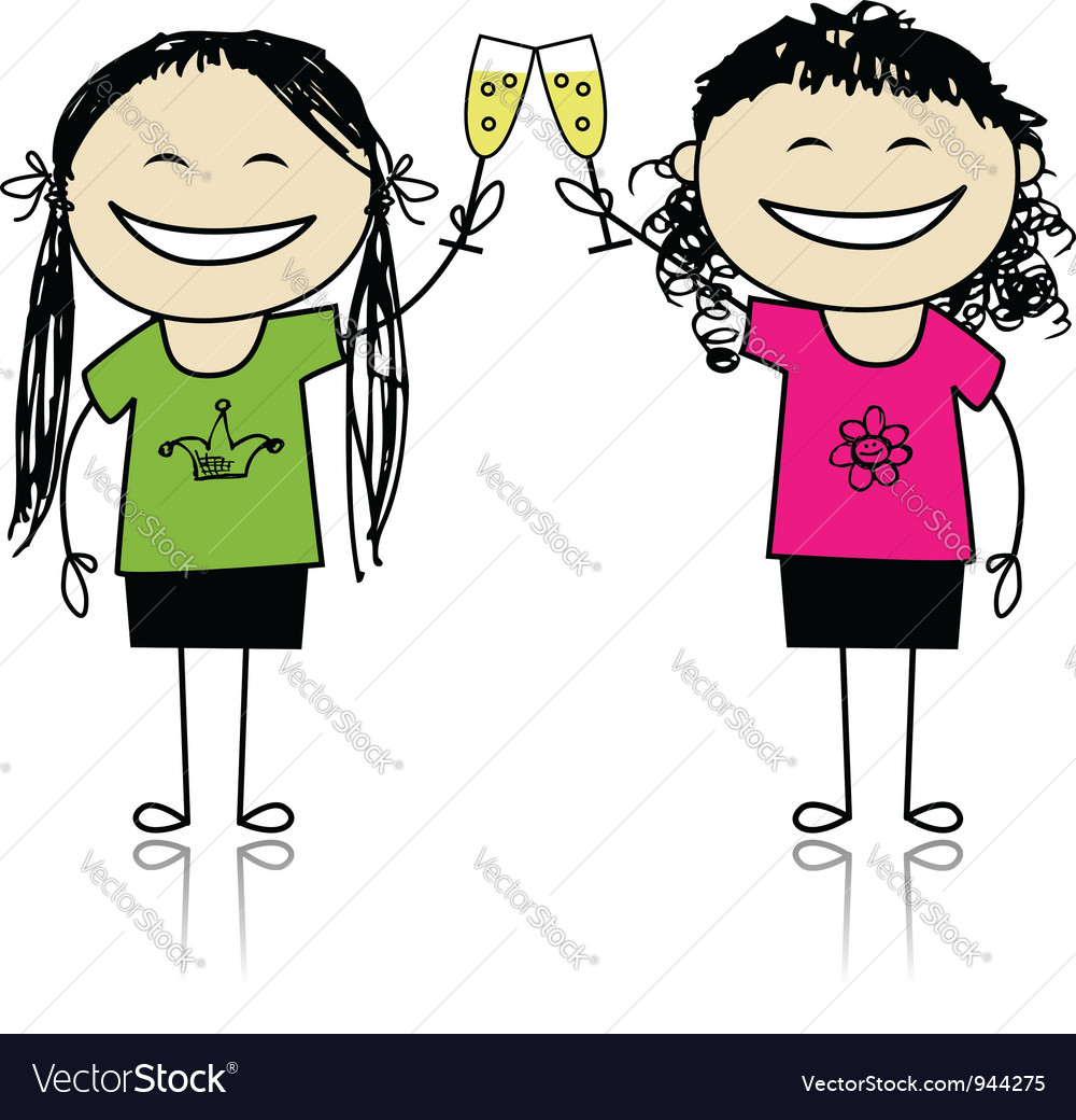 Girls drink wine party with friends vector | Price: 1 Credit (USD $1)