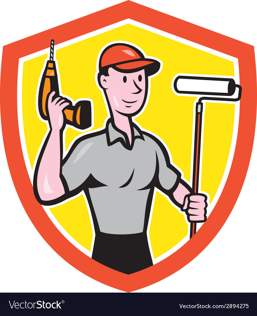 House painter paint roller handyman cartoon vector | Price: 1 Credit (USD $1)