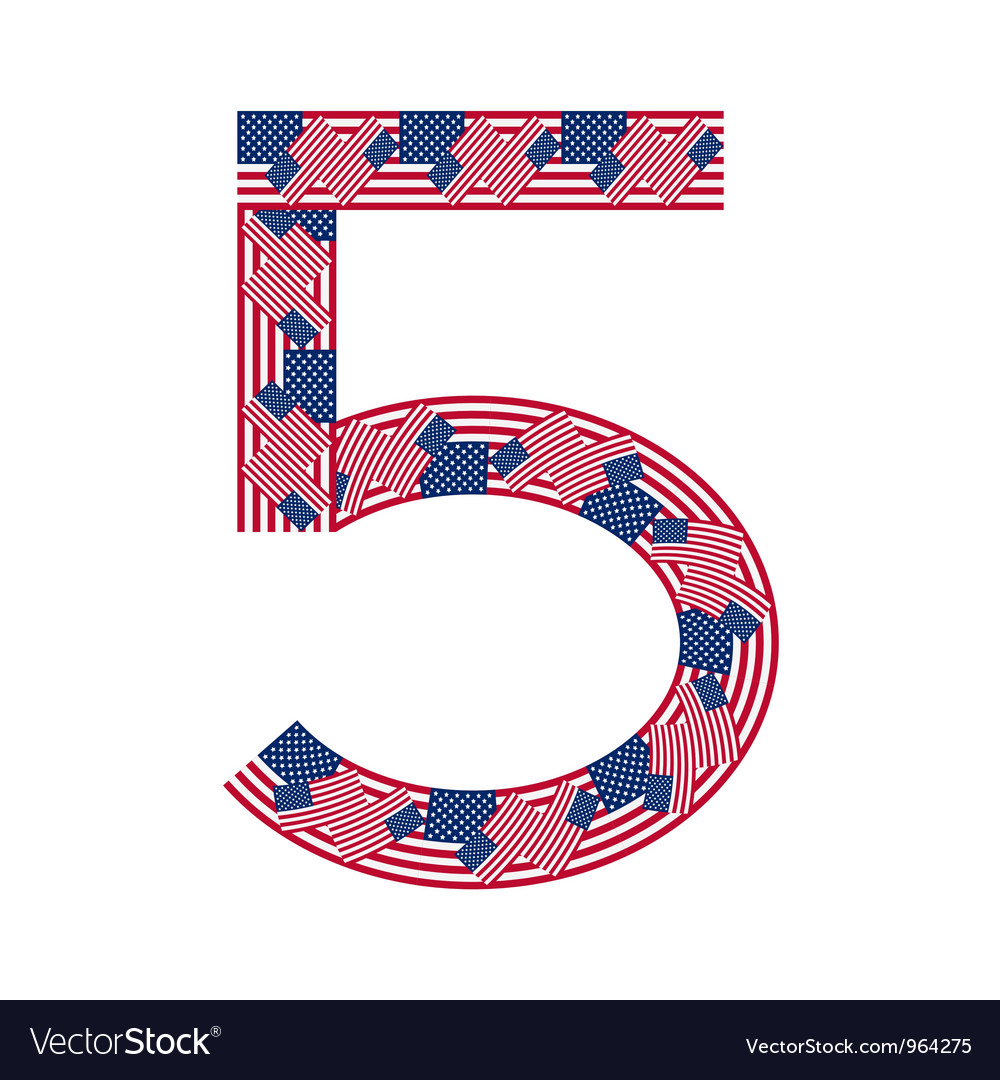 Number 5 made of usa flags on white background vector | Price: 1 Credit (USD $1)