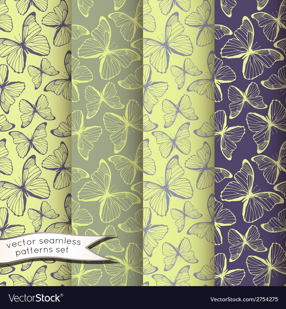 Outline butterflies seamless patterns set vector | Price: 1 Credit (USD $1)