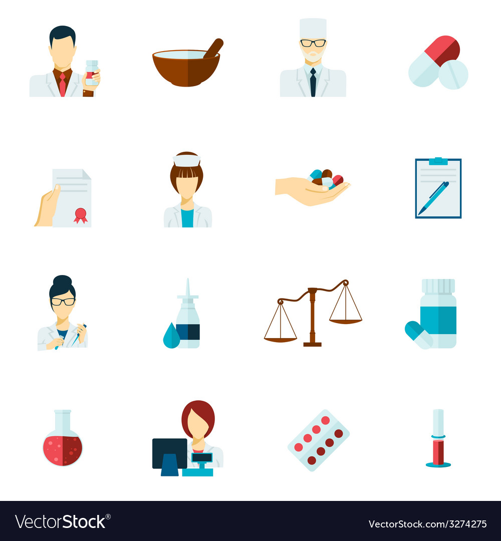 Pharmacist icon flat set vector | Price: 1 Credit (USD $1)