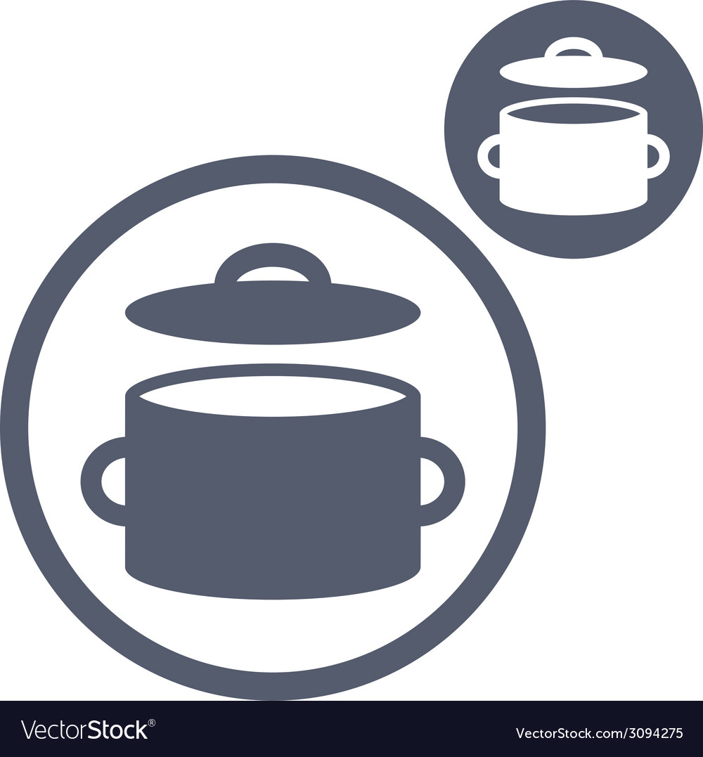 Saucepan pot simple single color icon isolated on vector | Price: 1 Credit (USD $1)