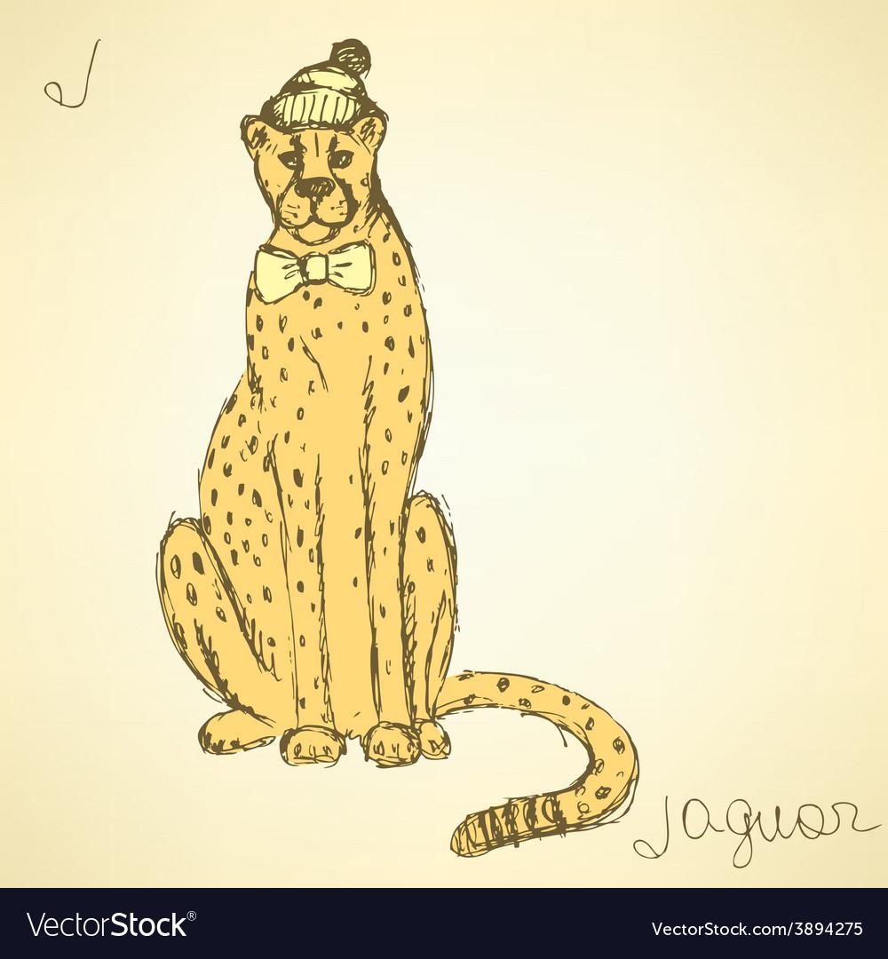 Sketch fancy jaguar in vintage style vector | Price: 1 Credit (USD $1)