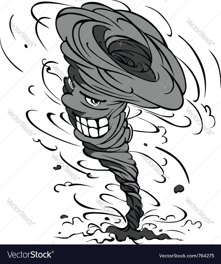Smiling hurricane cartoon vector
