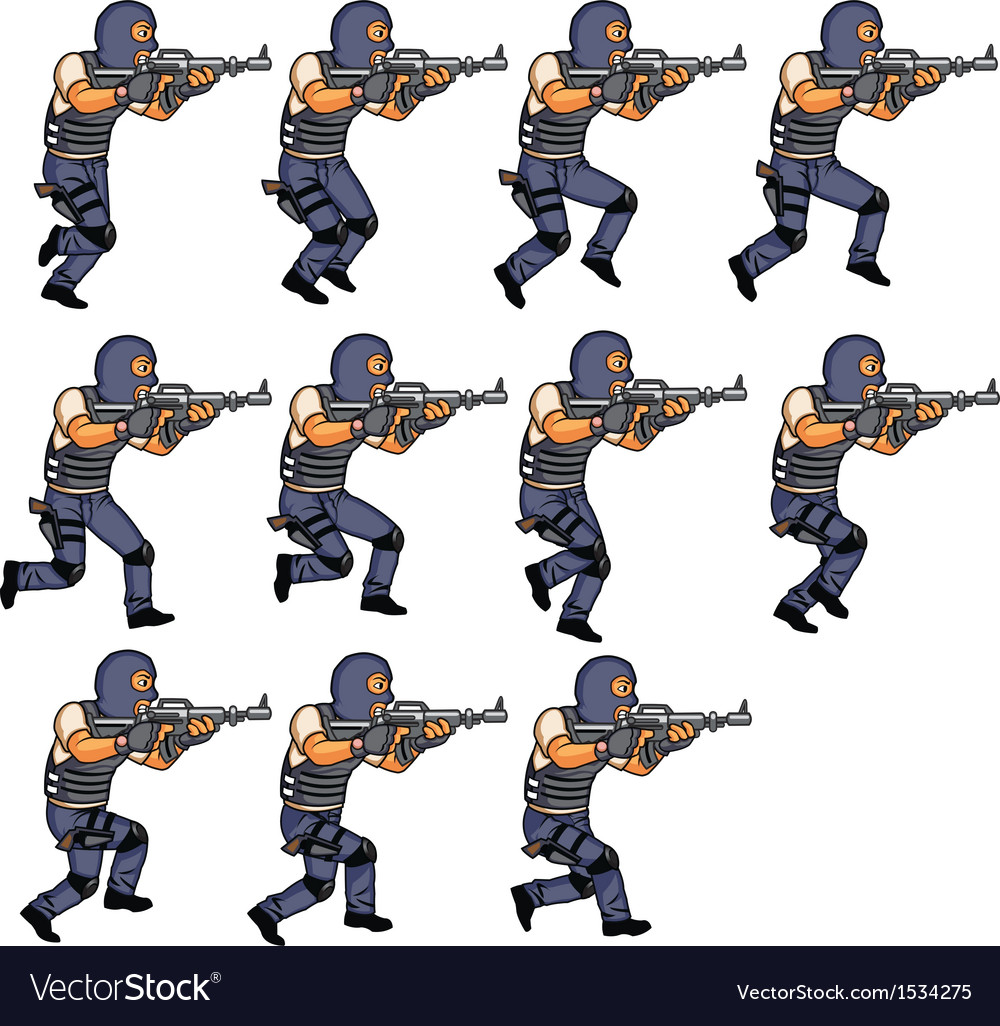 Swat officer running sequence vector | Price: 1 Credit (USD $1)
