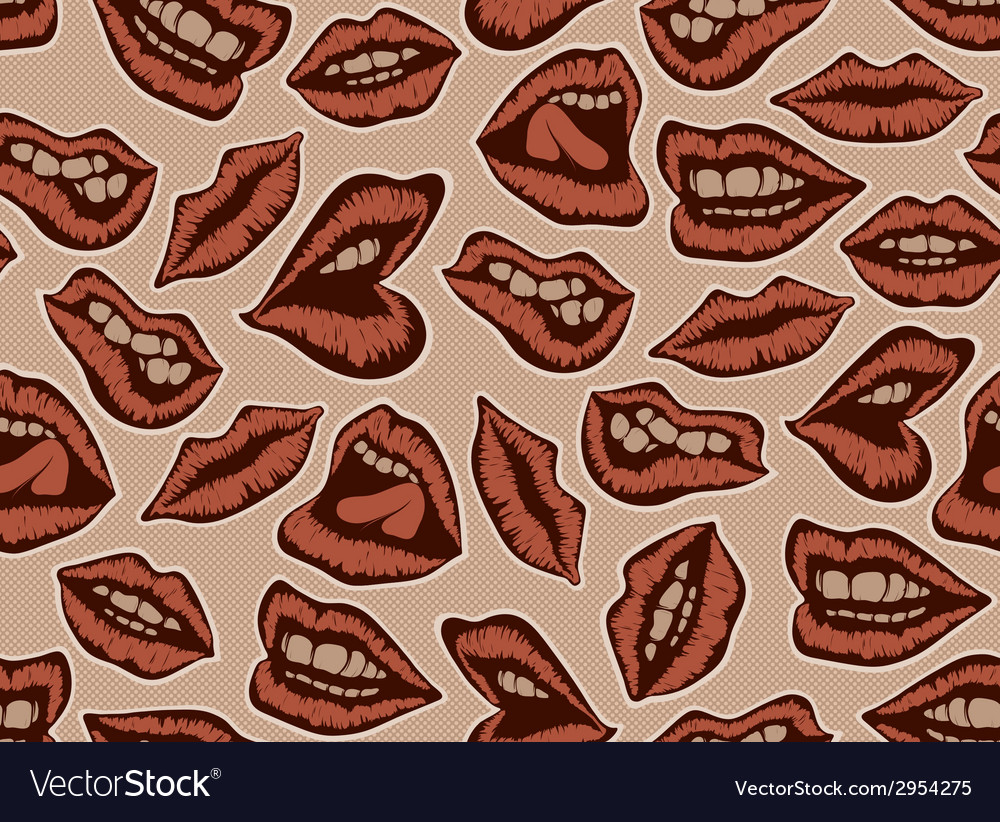 Vintage red lips pattern vector | Price: 1 Credit (USD $1)
