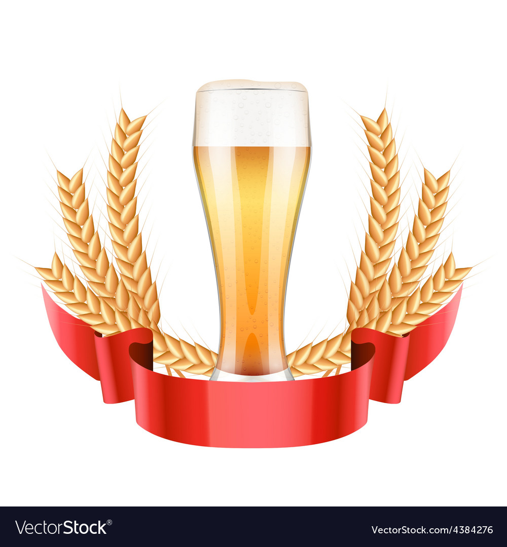 Brewery label with light beer glass and malt vector | Price: 1 Credit (USD $1)