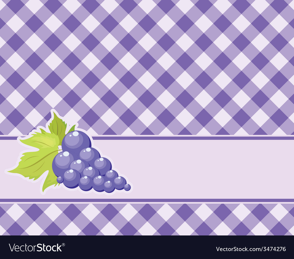 Checkered purple background with grapes vector | Price: 1 Credit (USD $1)