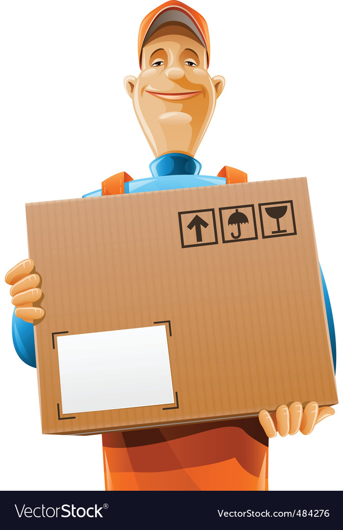 Delivery service man with box vector | Price: 5 Credit (USD $5)