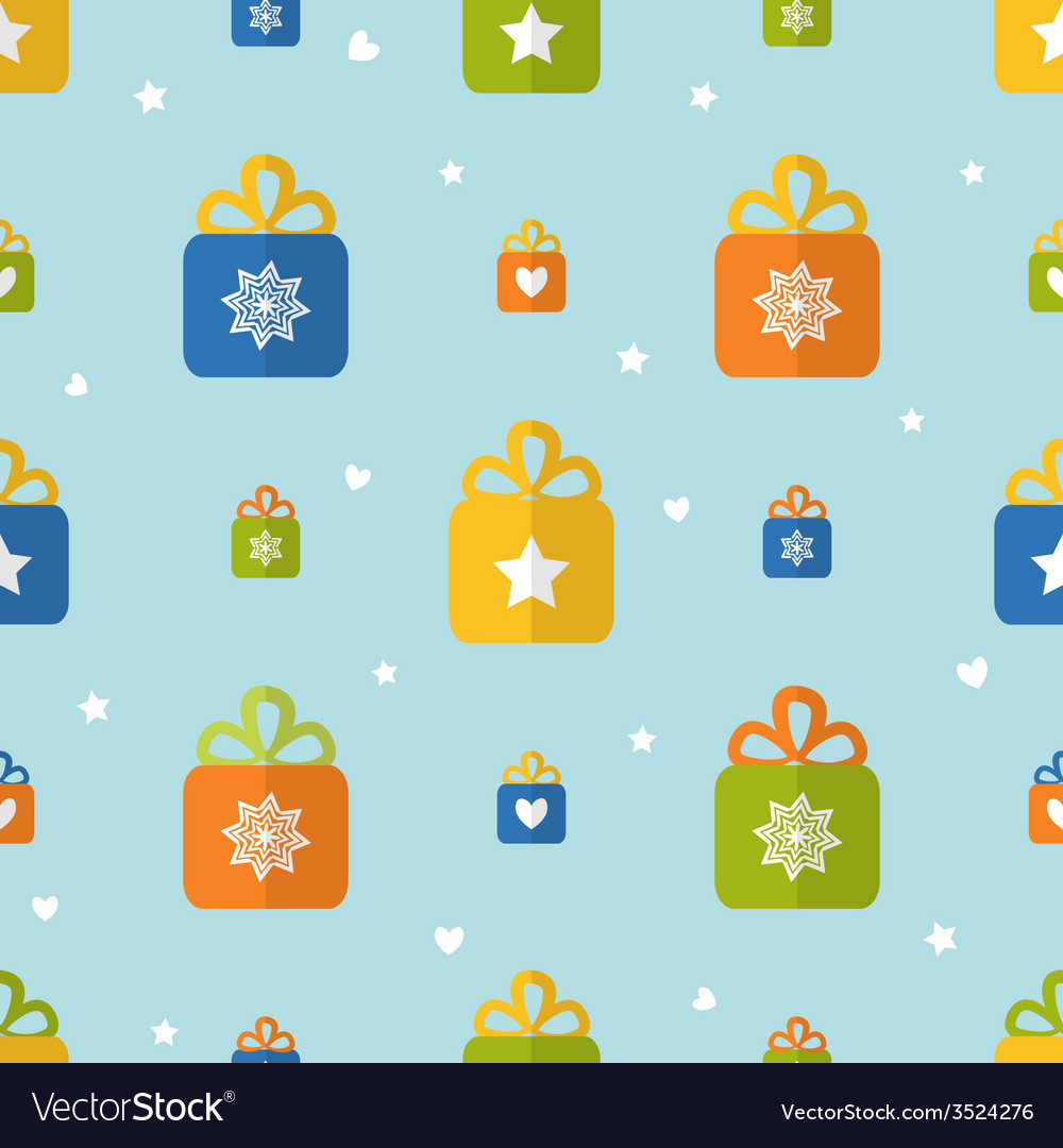 Flat seamless pattern with presents vector | Price: 1 Credit (USD $1)