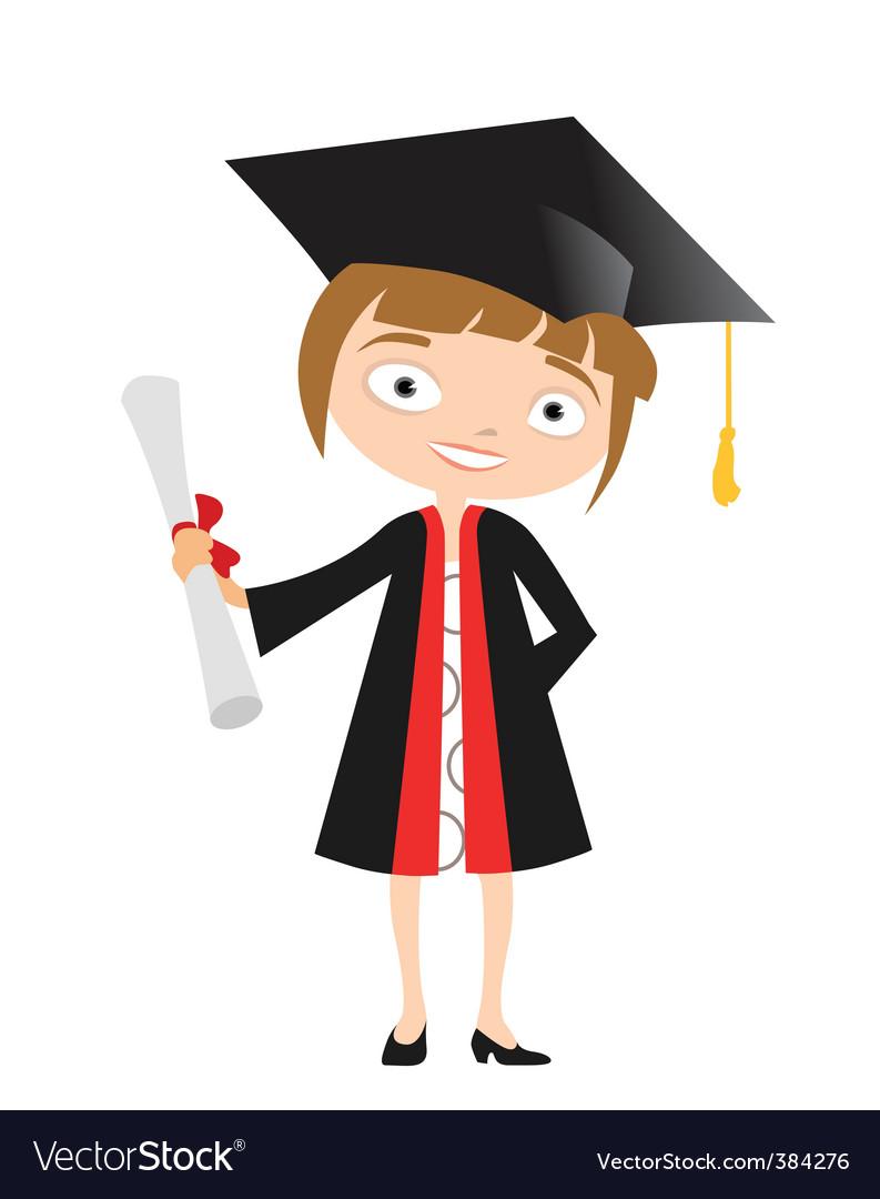 Girl graduate vector | Price: 1 Credit (USD $1)
