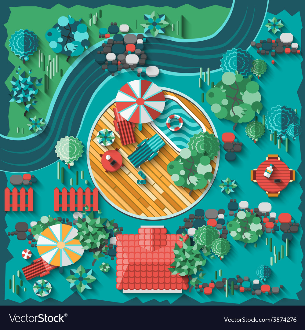 Landscape design composition vector | Price: 1 Credit (USD $1)