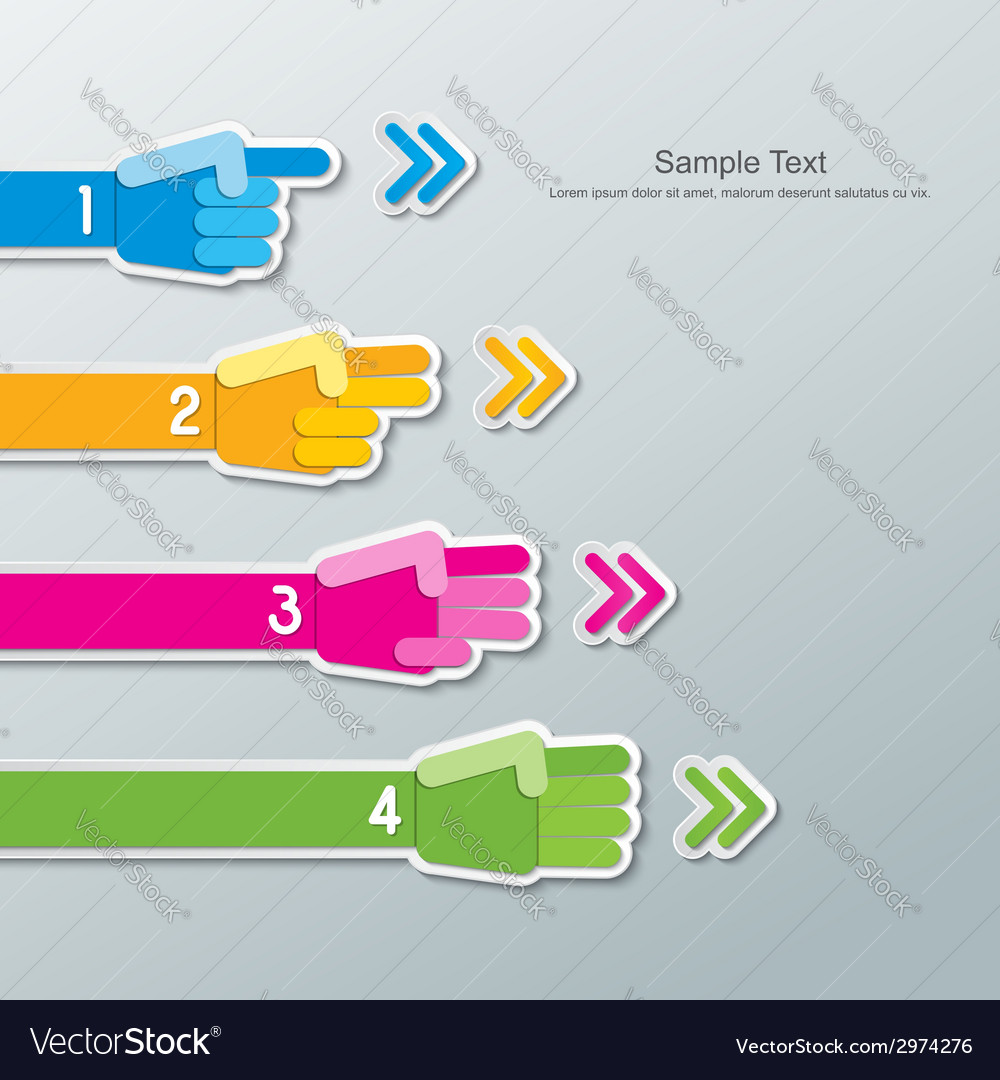 Paper hand number infographics vector | Price: 1 Credit (USD $1)