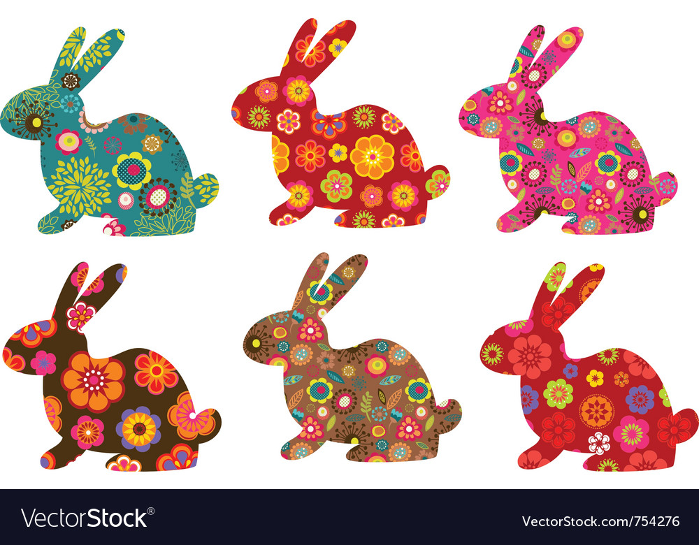 Patterned bunnies vector | Price: 1 Credit (USD $1)