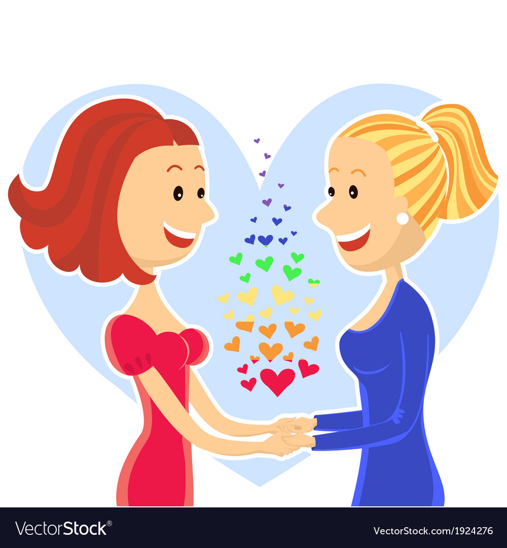 Smiling and happy lesbian couple of women vector | Price: 1 Credit (USD $1)