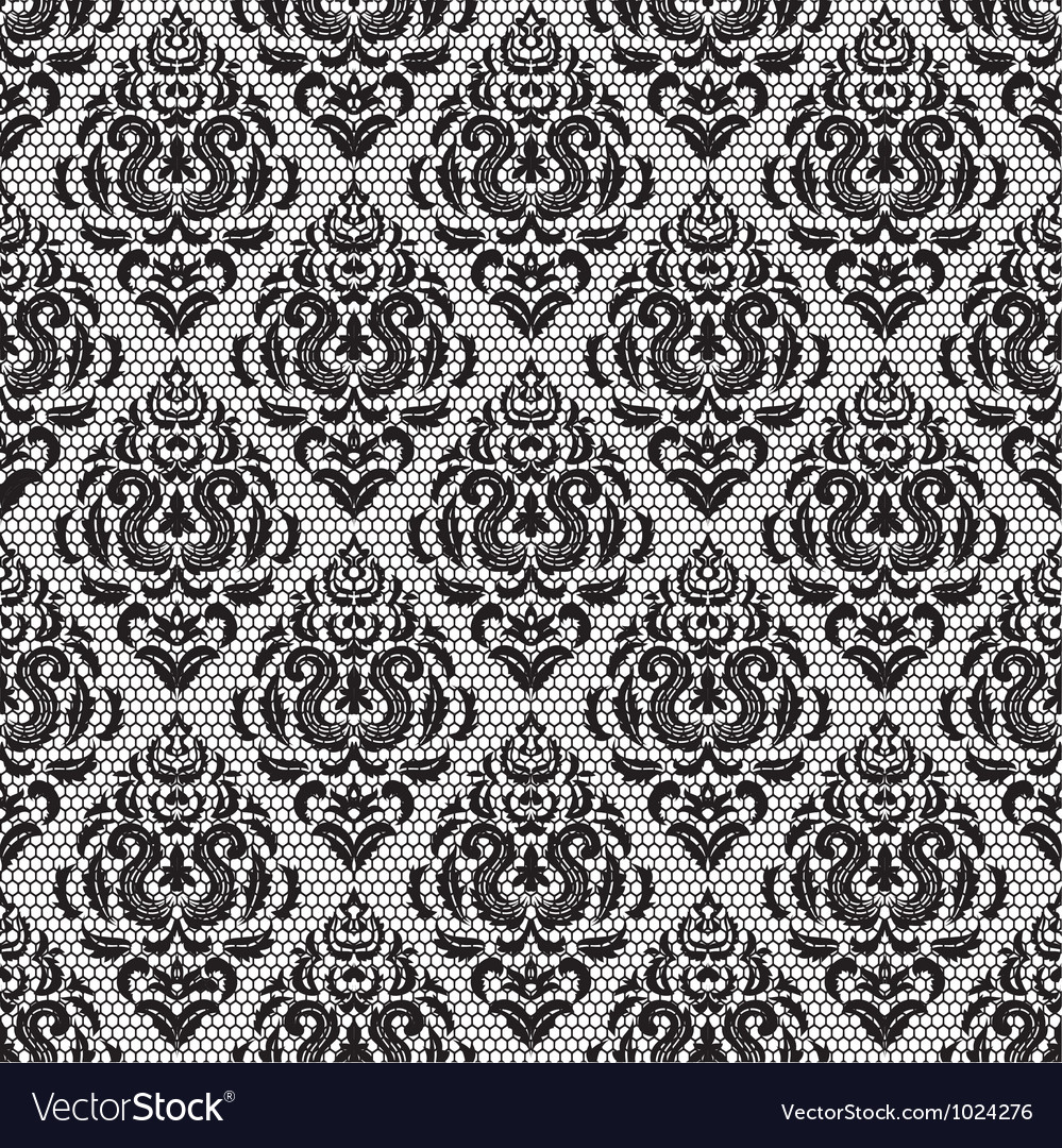 Vintage black lace floral pattern on white vector | Price: 1 Credit (USD $1)