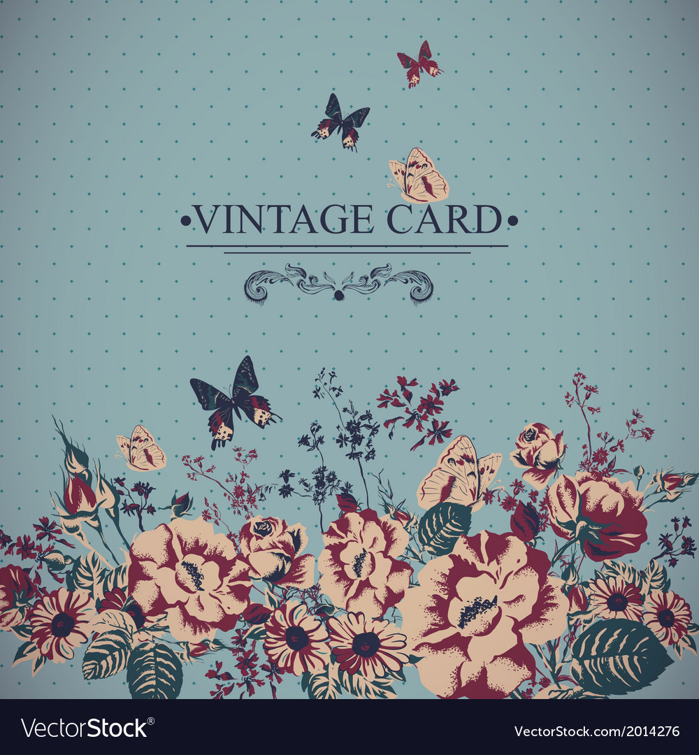 Vintage floral card with butterflies vector | Price: 1 Credit (USD $1)